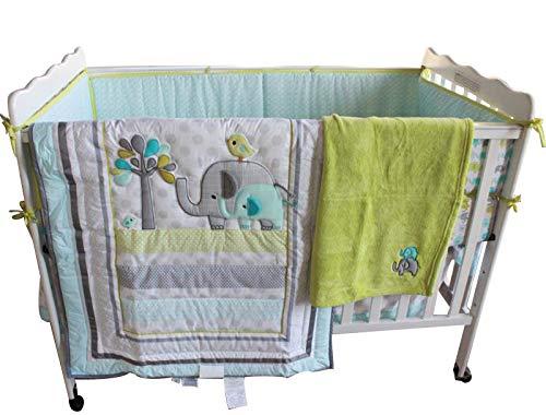 New Baby Safari Elephant 4pcs Crib Bedding Set (without bumper), 1) quilt, 1)sheet, 1)fleece blanket, 1)dust ruffle F.C.L CBSB0003