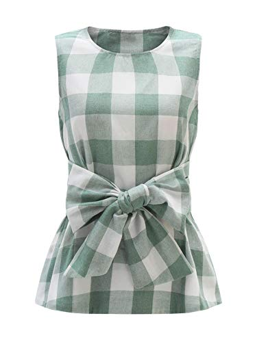 (WDIRARA Women's Sleeveless Belted Checkered Shell Top Blouse Green XS)
