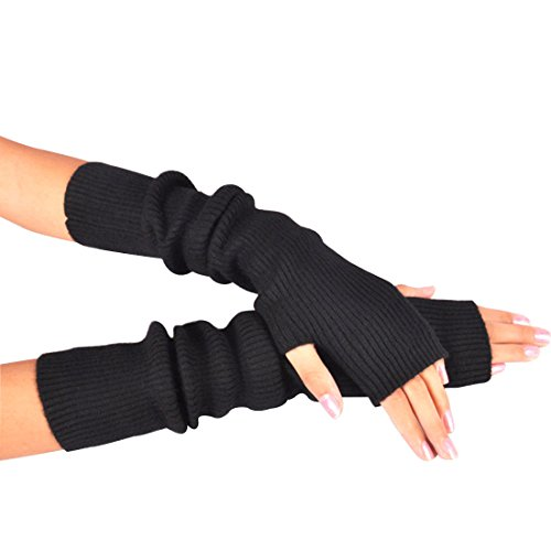 Novawo Women's Solid Wool Fingerless Arm Warmers Gloves with Thumb Hole, Black by Novawo (Image #1)