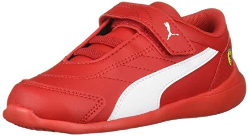 Puma Ferrari Velcro - PUMA Baby SF Kart CAT Velcro Sneaker, White-Rosso Corsa, 5 M US Toddler