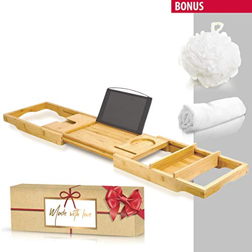 Royal Bathtub Tray Set - Expandable Non-Slip Bamboo Wooden Caddy, Bath Holder for Drinks Book Tablet Phone, Bonus - Bathroom Hot Tub Accessories - Towel and Sponge - Perfect Shower ()