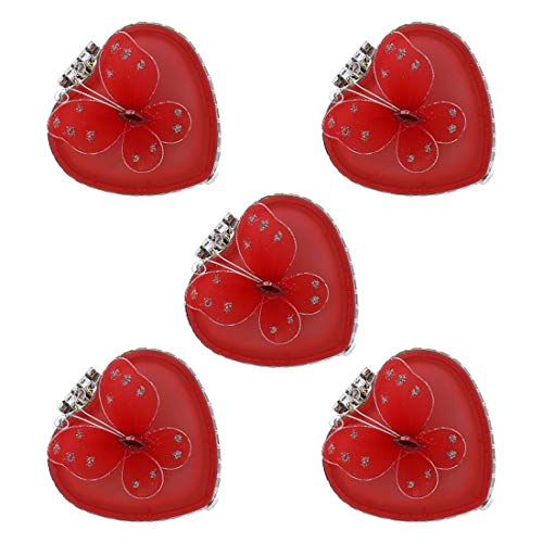 Li'Shay Heart Shaped Trinket Jewelry Box with Butterfly - Set of 5 Red ()