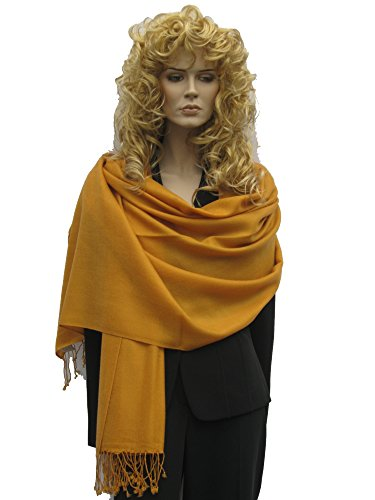 Scarf/Shawl/Wrap/Stole/Pashmina Shawl in solid color from Cashmere Pashmina Group (Mustard) (Color Blend Cashmere Solid)
