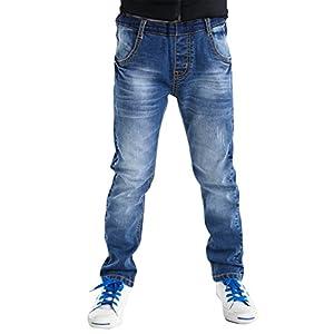 BYCR Boys' Blue Denim Jean Elastic Waist Pants for Kids Size 4-18