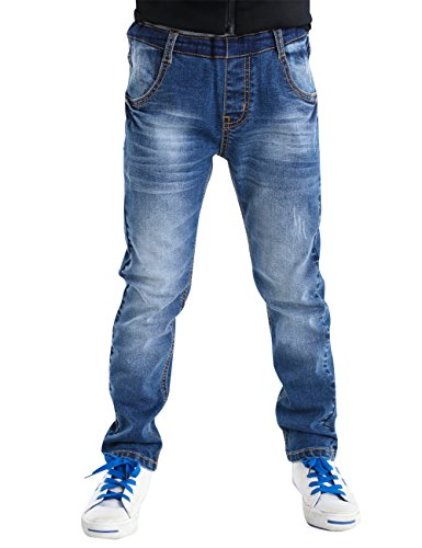 BYCR Boys#039 Blue Denim Jean Elastic Waist Pants for Kids Size 418 No 71500092 130 US Size 67 Blue
