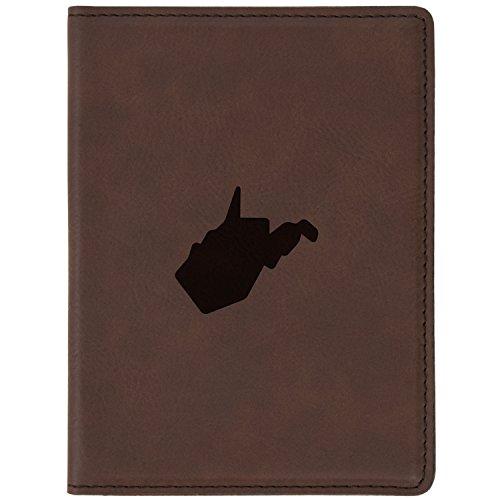 (West Virginia Brown Leather Passport Holder - Laser Etched Design - 4 X 5.5