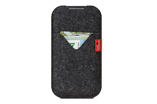 "Pack & Smooch Shetland iPhone X (5.8"") Cover Case made with 100% Merino Wool Felt and Natural Vegetable Tanned Leather - Dark Grey by Pack & Smooch (Image #5)"