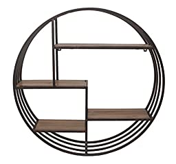Benzara Customary Styled Metal Wall Rack with Wood Shelves
