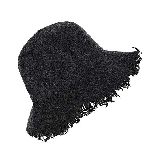 RUIXIB Dome Fringed Wool Fisherman Hat Fashion Lady Beautiful Basin Cap Outdoor Warm Hat Solid Color Casual Fedora Cap