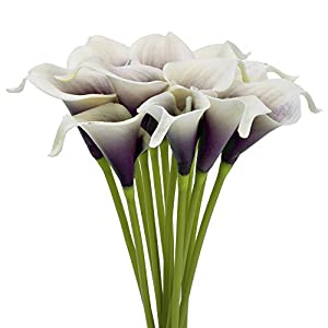 SMYLLS Calla Lily Bridal Wedding Bouquets with Latex-Look Like Real,Eco-friendly Odourless Artificial Flowers Christmas Home Decoration(12, Purple & White) 4