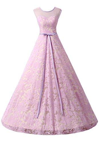 ivyd ressing robe col rond dentelle Prom préférée longue robe de bal robe du soir -  Violet - 36