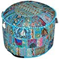 """Indian Living Room Pouf, Foot Stool, Round Ottoman Cover Pouf,Traditional Handmade Decorative Patchwork Ottoman Cover,Indian Home Decor Cotton Cushion Ottoman Cover 18 x 15"""" inches"""