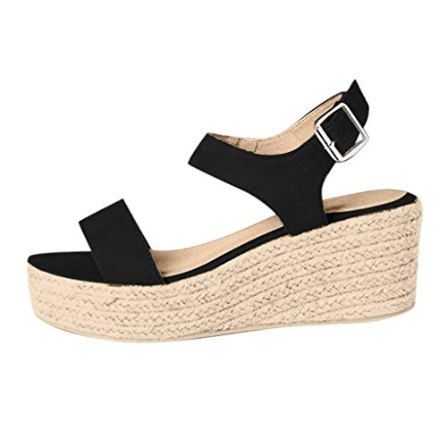Clearance! Swiusd Womens Girls Wedges Sandals Retro Slingback Ankle Strap Buckle Open Toe Roman Sandals Comfy Beach Shoes (Black, US 8)