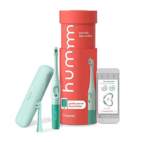 hum by Colgate Smart Battery Toothbrush Kit, Sonic Toothbrush Handle with 2 Refill Heads and Travel Case, Teal