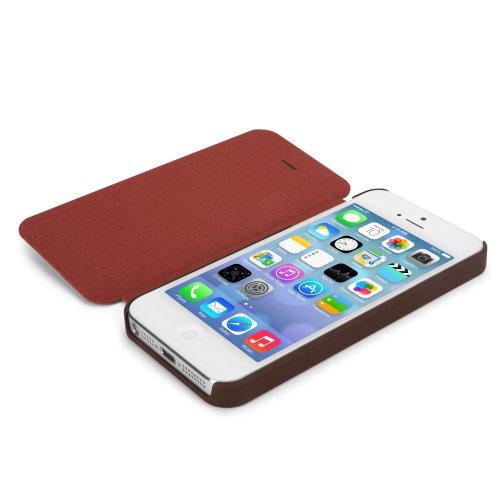 Coque Iphone se, BoxWave® [slimflip Étui en cuir avec chargeur Porte-clés Bonus] slim, fermeture pour enclipsage se, Housse en cuir pour Apple iPhone 5S, 5–Bordeaux