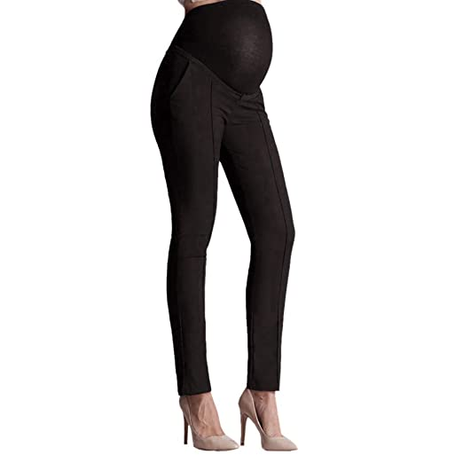 1bd32b84767e1 Moonper Women Maternity Elastic Belly Protection Leggings Pants Pregnant  Pencil Trousers (S, Black)