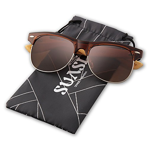 SUASI Aviator Sunglasses with Half Frame Bamboo Legs for Mens Womens Wooden Sunglasses Zm00140 - Half Aviator Sunglasses Frame