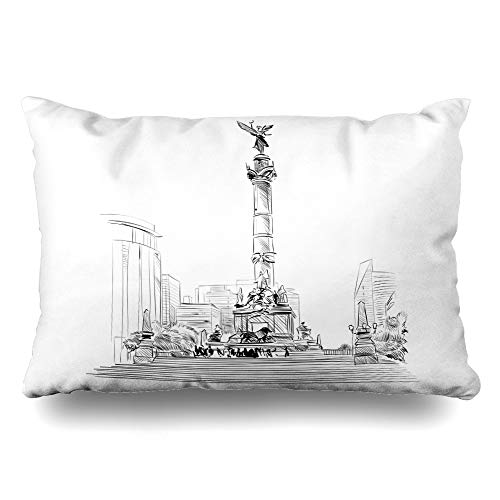 DIYCow Throw Pillows Covers of Mexico Angel Independence Hand Drawn Souvenir Cushion Case Pillowcase Home Sofa Couch Queen Size 20 x 30 Inches Pillowslips