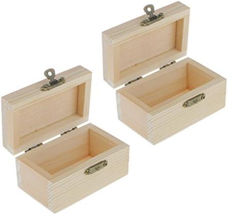 sharprepublic 2ピース小さな木製ジュエリー収納ウッドボックストレジャーチェストホルダーボックスケース