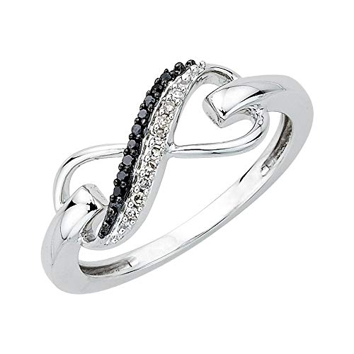 - Two Row Infinity Black and White Diamond Ring in Sterling Silver (1/20 cttw, I-J, SI) (Size-9)