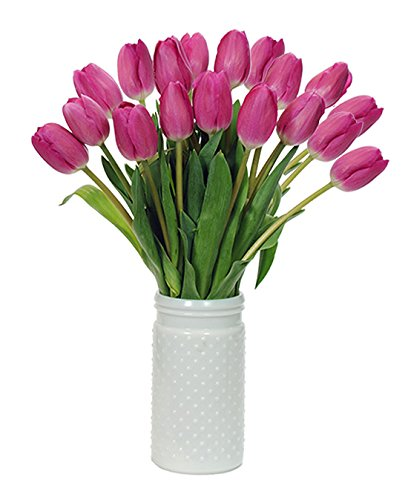 Stargazer Barn - Bright Pink Tulips with Unique Hobnail Style Glass Vase - BarcelonaTulips - Sustainably Grown in California - Pink Flowers - Birthday Gift - Just Because Gift - Send (Just Because Bouquet)
