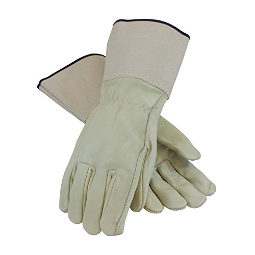 (PIP 68-101G/XL Superior Grade Top Grain Cowhide Leather Driver's Glove with Plasticized Gauntlet Cuff, Straight Thumb)