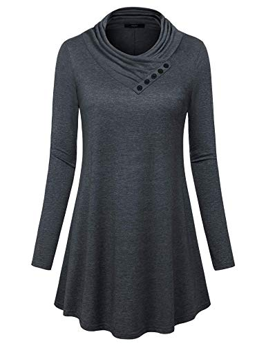 - Gaharu Tunic Tops for Women, Ladies Zulily Tunics Pleated Cowl Neck Shirts Long Sleeve Blouse for Work for Office Pullover Top (Medium,Carbon Black)