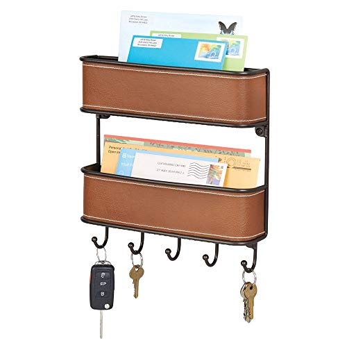 mDesign 2-Tier Mail, Letter Holder, Key Rack Organizer for Entryway, Ktichen - Wall Mount, Brown/Bronze