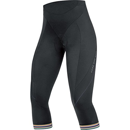 Gore Tights - GORE BIKE WEAR Women's 3/4 Road Cycling Tights, Seat Padding, GORE Selected Fabrics, POWER LADY 3.0 Tights 3/4+, Size 36, Black, TLPOWQ