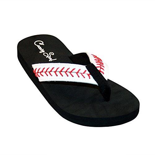 Cocomo Soul Baseball Stitch Leather Flip Flops Sandals (11) White