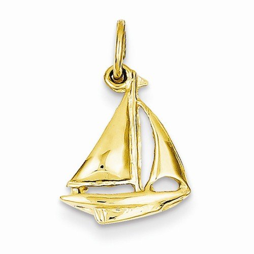 Solid 14k Yellow Gold Ship Sailboat Charm Pendant (19mm x 12mm) ()