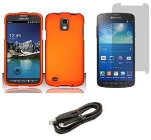 Quaroth Samsung Galaxy S4 Active - Premium Accessory Kit - Orange Hard Shell Case + ATOM LED Keychain Light + Screen Protector...