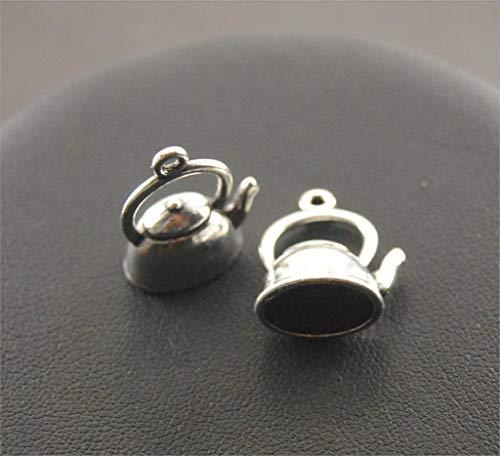 LTTA 10pcs Tibetan Silver 3D Teapot Charm 10x14x20mm DIY Craft A67