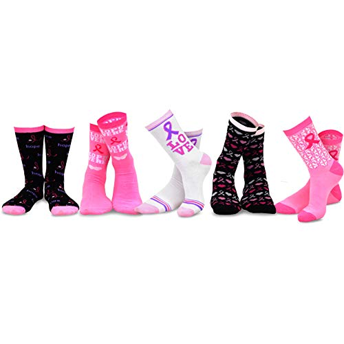 (TeeHee Women Pink Ribbon Breast Cancer Awareness Cotton Crew Socks 5-Pair Pack (Love and Pink)