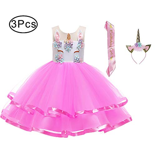 LZH Girl Unicorn Flower Dress Birthday Party Cosplay Costume Pageant Princess Dresses Rose Red -