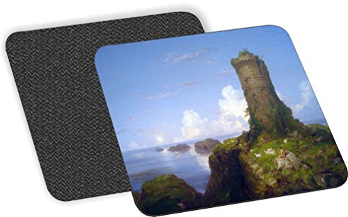 Rikki Knight Thomas Cole Art Italian Coast Scene with Ruined Tower Design-Soft Square Beer Coasters (Set of 2), Multicolor