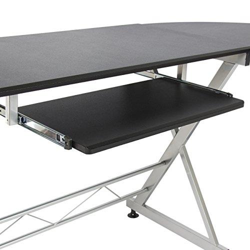 Best choice products wood l shape corner computer desk pc for Best workstation table