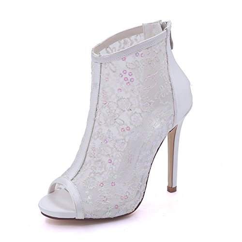 Flower-Ager Women's Shoes Tulle Stiletto Heel Boots Wedding Shoes Peep Toe Ankle Boots Ivory Size EU35-EU42 Ivory