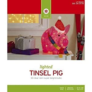 Lighted tinsel pig with hat and scarf for Amazon christmas lawn decorations