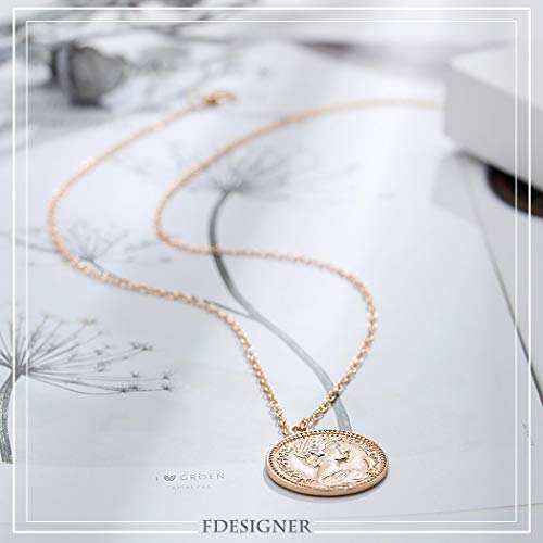 FDesigner Ancient Greek Coin Collar Necklace Athena Apollo Pendant Choker Chain Dainty Jewelry Gold for Women and Girls (Queen)