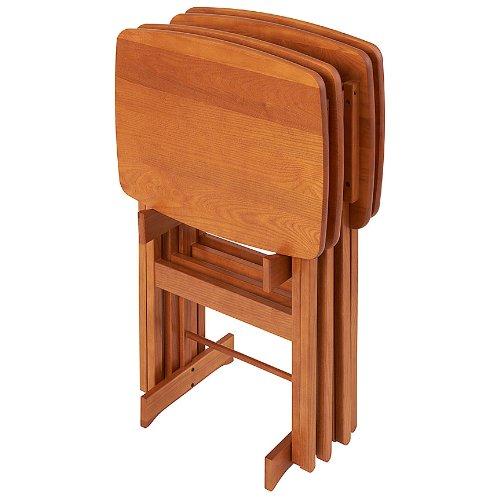 Manchester Wood Contour Folding TV Tray Table Set of 4 - Golden Oak
