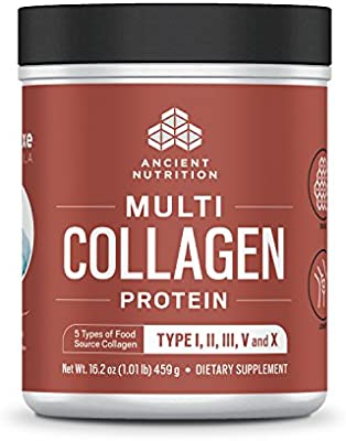 Ancient Nutrition Multi Collagen Protein Powder, 5 Types of Food Sourced Collagen, Providing Types I, II, III, V, and X, 16.2oz