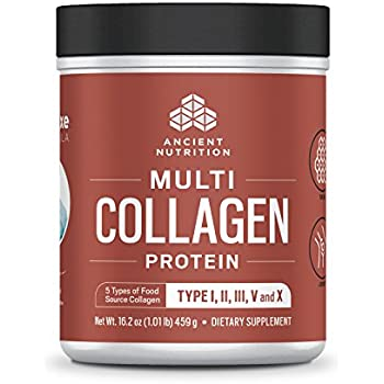 Ancient Nutrition Multi Collagen Protein Powder — High-Quality Blend of Grass-Fed Beef, Chicken, Wild Fish and Eggshell Collagen Peptides, Providing Type I, II, III, V and X — Formerly Dr. Axe