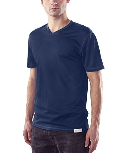 Woolly Clothing Men's Merino Wool V-Neck Tee Shirt - Ultralight - Wicking Breathable Anti-Odor L -