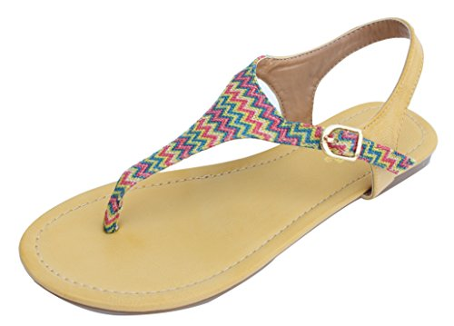 Yellow Multi Canvas T-strap Thong Ankle Strap Sandals Mochi 65
