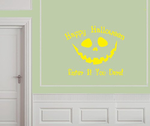 Vinylsay h.0013Pumpkin-G.Yellow -18.5x16 Happy Halloween Enter If You Dare Wall Decal, 18.5 by 16-Inch, Gloss Yellow ()