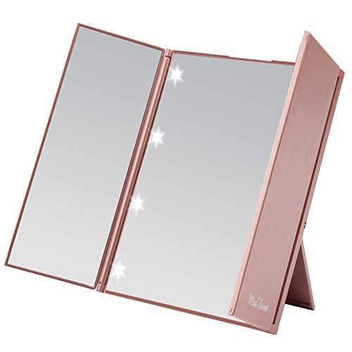Miss Sweet Small Led Lighted Tri-Fold Makeup Mirror Travel Mirror Compact Pocket Mirror Compact Mirror for Cosmetic Makeup (Gold -