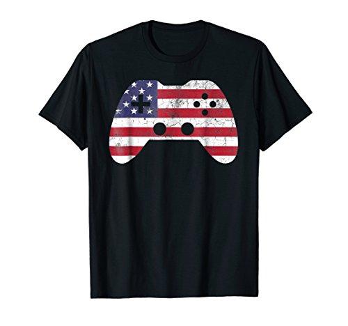 4th Of July T Shirt Gift Video Game Gamer Kids Boys Men USA