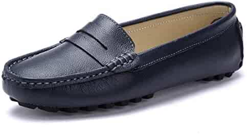 093df40bbad SUNROLAN Casual Women s Genuine Leather Penny Loafers Driving Moccasins  Slip-On Boat Flats Shoes