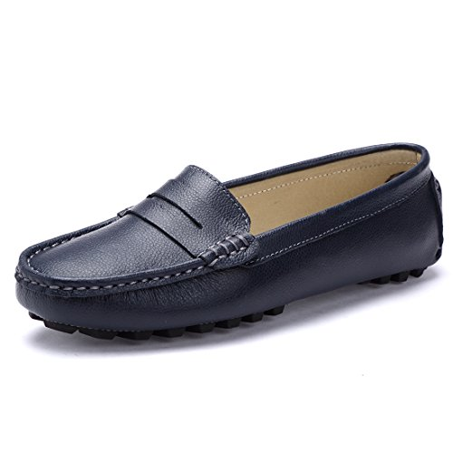 Blue Leather Boat (SUNROLAN 818-2lan9.5 Casual Women's Genuine Leather Penny Loafers Driving Moccasins Slip-On Boat Flats Shoes US9.5)